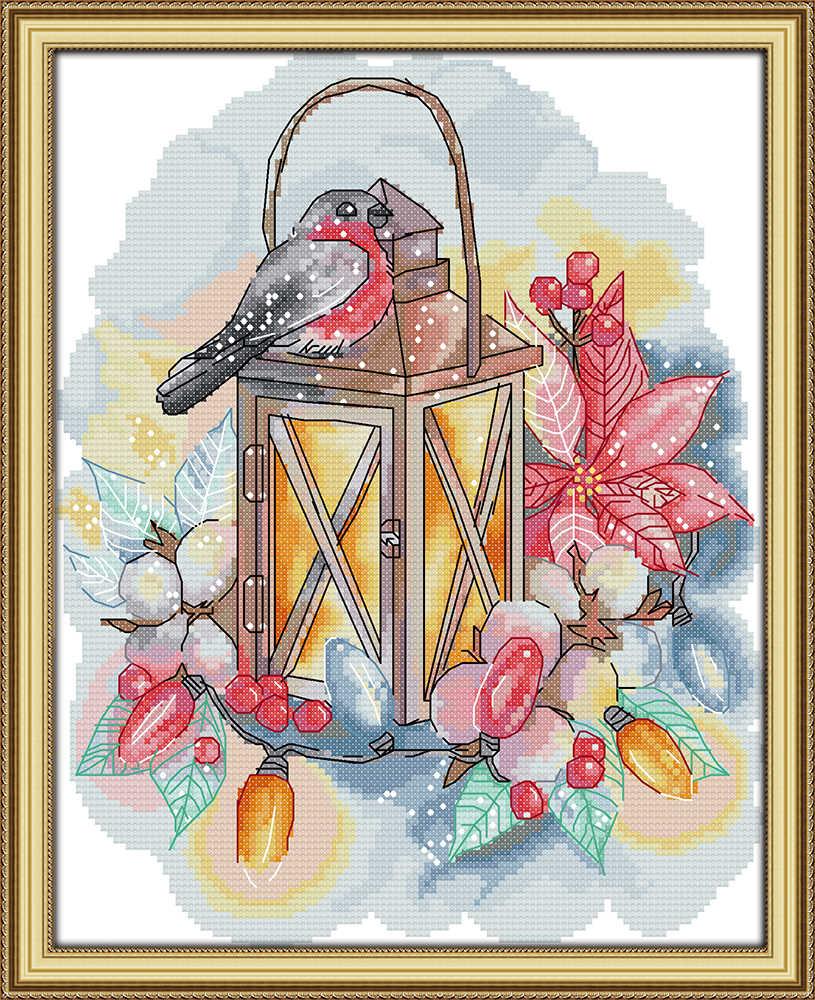 الطيور و مصباح الحيوان ديكور المنزل اللوحة عد المطبوعة على قماش DMC 11CT 14CT أطقم عبر غرزة التطريز تطريز مجموعة