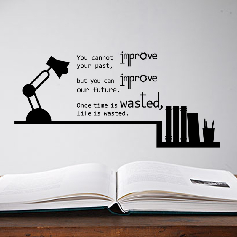 Book Shelves Table Lamp Inspiration English Quote Wall Stickers Home Decor  Past Future Life Saying Bedroom Book Room Wallpaper  In Wall Stickers From  Home ... Part 84