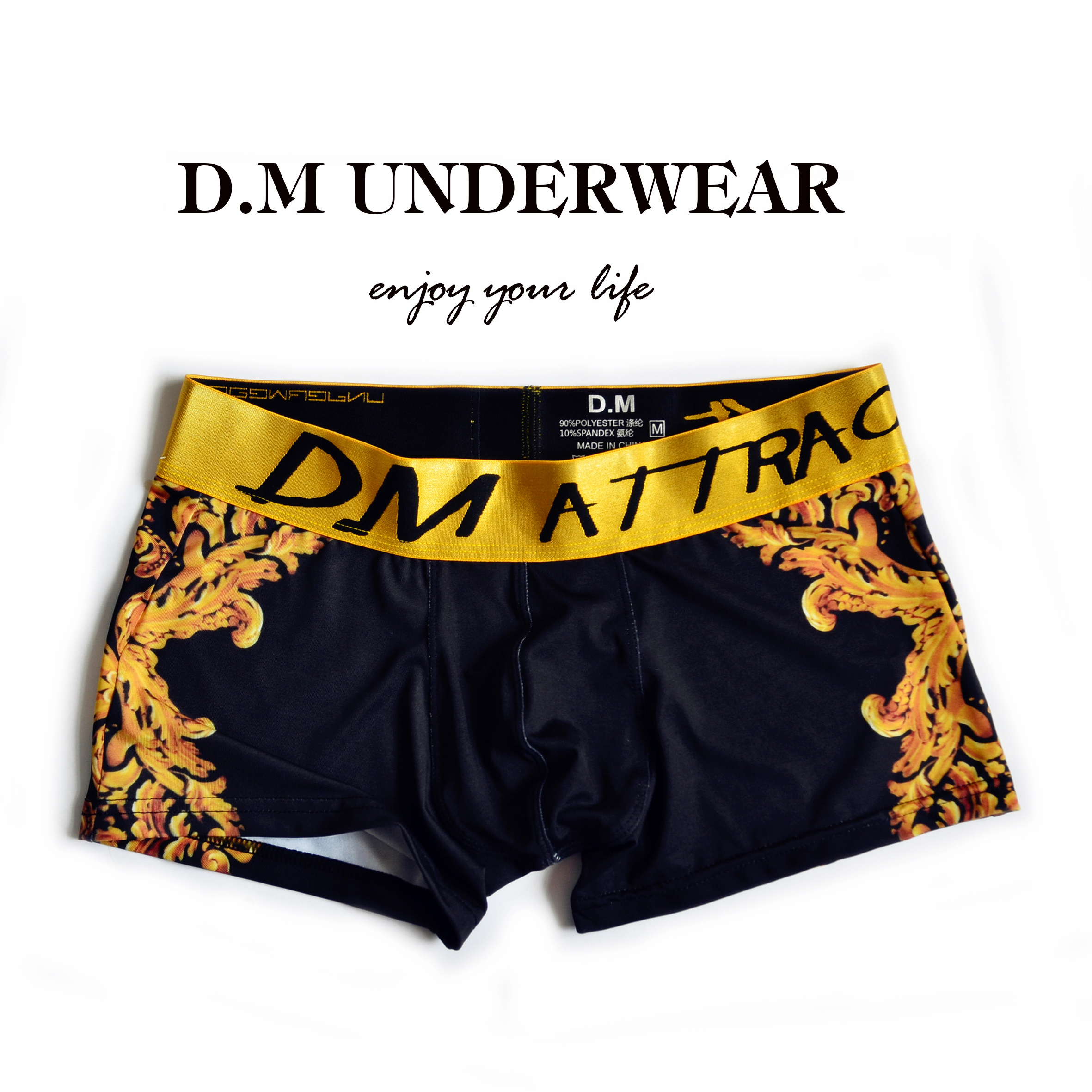 63e3a573b1930e D.m male panties luxury print trunk low-waist sexy fashion nobility boxer  shorts leopard print