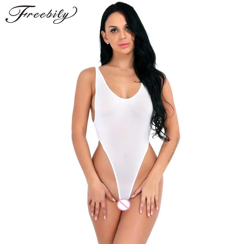 f13dae06b8 Sexy See Through High Cut Bodysuit Thong Swimsuit Transparent Sheer  Polyamide Erotic Lingerie Women Wetlook Underwear