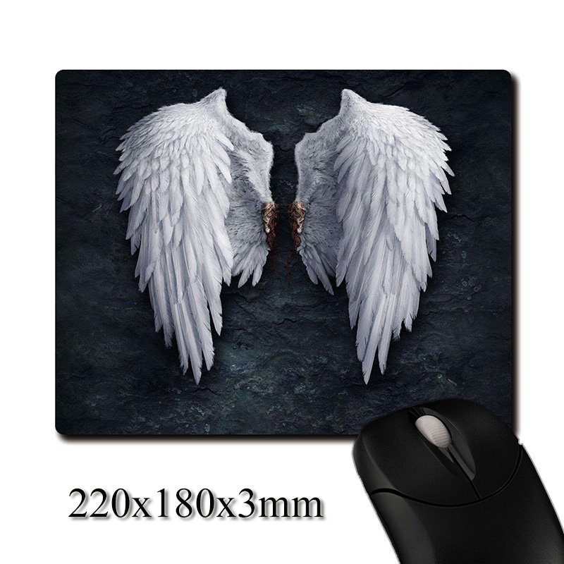 Angel wings on the rock wall CG printed Heavy weaving anti-slip rubber pad office mouse pad Coaster Party favor gift 220x180x3mm