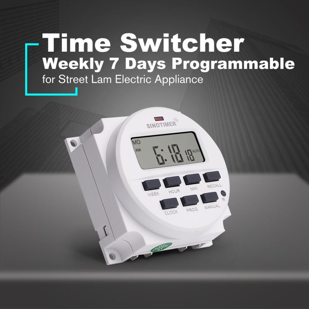 AC 220V Weekly 7 Days Programmable Digital Time Switch Relay Timer Control Din Rail Mount