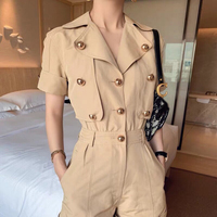 2019 Summer Gold Button Playsuits Design Silhouette Shorts Handsome Military Style Casual Jumpsuit Work Wear Style Playsuits