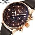 GUANQIN Homens Relógio Top De Luxo Da Marca Big Dial Designer Quartz Relógio Masculino multifuncional relógio dos homens de negócios Casuais Relógio de Pulso hora