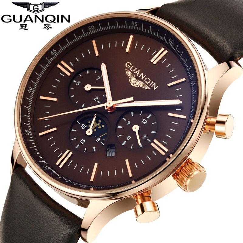 GUANQIN Watch Men Luxury Top Brand Big Dial Designer Quartz Watch Male multifunction Casual Wristwatch Men's business clock hour mens watch top luxury brand fashion hollow clock male casual sport wristwatch men pirate skull style quartz watch reloj homber