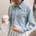 2016 Primavera Outono Senhoras Camisa da Cor de Doces Mulheres Blusa Bolso Esquilo Dos Desenhos Animados Projeto Do Bordado Manga Comprida Meninas Engraçadas Blous