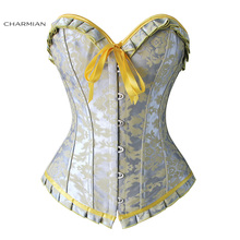 16cff230c34 Charmian Women s Sexy Overbust Corset Jacquard Ruffles Floral Silver and Yellow  Corsets and Bustiers Shapewear Corselet