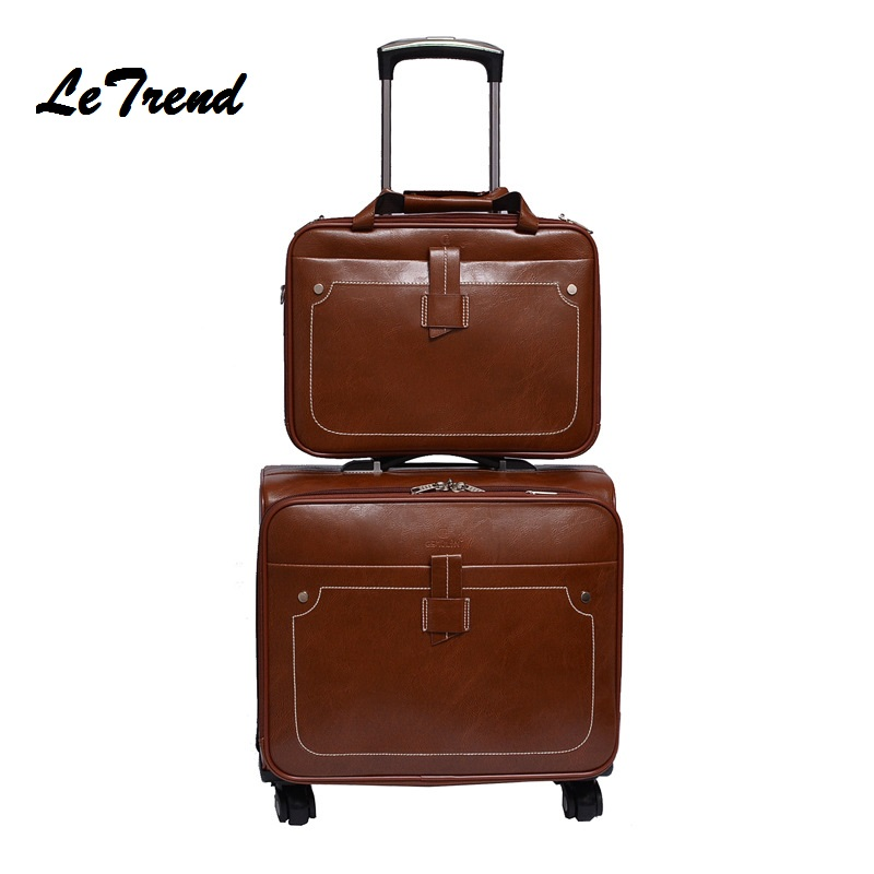 Letrend Men Business PU Leather Rolling Luggage Set Spinner Retro Trolley 18 inch Carry On Suitcases Wheel Women Travel Bag