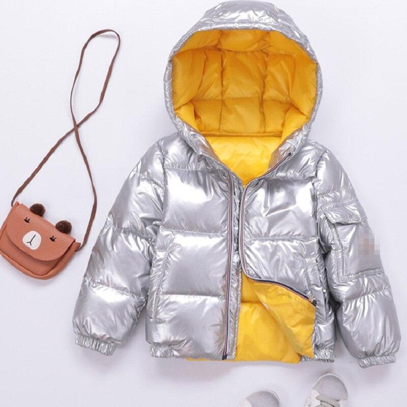 2018 Automne Hiver Mode Enfants de Down Veste Garçons Filles Bébé Argent Épais Manteau de Neige Parka Vêtements Pour Bébés Pardessus Enfant vêtements