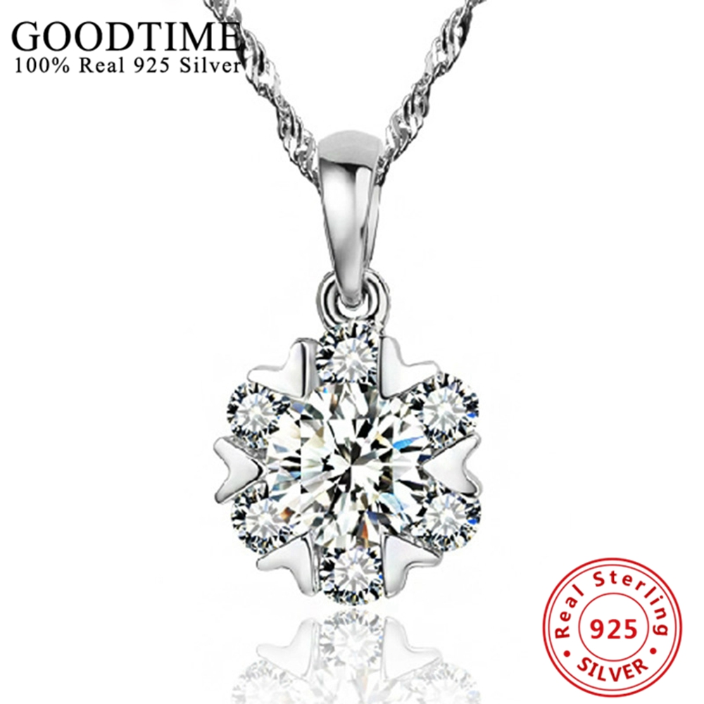 Collares Fashion Genuine 925 Sterling Silver Necklace For Women Real 925 Silver Fashion Jewelry Female Pendant Necklace Gift