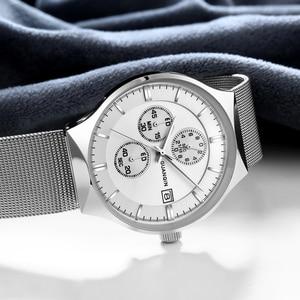 Image 4 - 2018 新 GUANQIN トップブランドの高級メンズビジネスクロノグラフメッシュストラップ時計メンズファッションフルスチールクォーツ手首時計