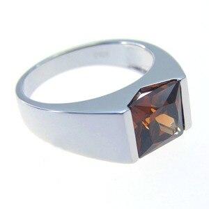 Кольцо из 100% стерлингового серебра 925 пробы, мужское кольцо с дымчатым кварцем ювелирное изделие Свадьба Помолвка кольца для мужчин и женщи...