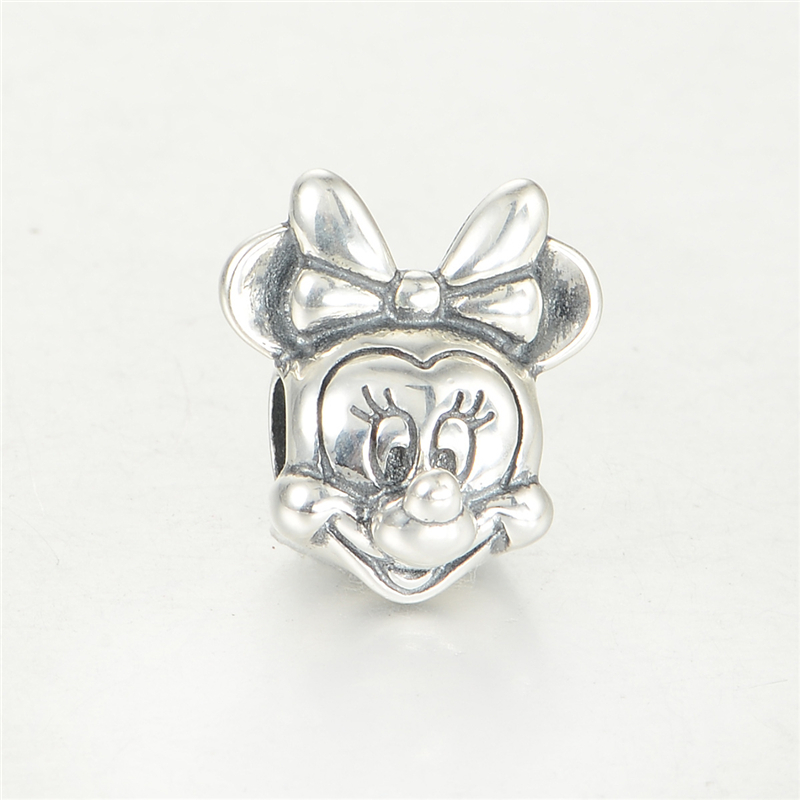 925 Sterling Silver Disny Minnie Beads Fits Pandora Charms Bracelet Fine Disny Jewelry Metal Charms Bead DIY Jewelry Making pandulaso pure 925 sterling silver jewelry findings sparking safety with logo beads fits charms bracelet women diy jewelry