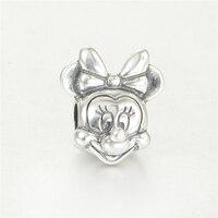 925 Sterling Silver Disny Minnie Beads Fits Pandora Charms Bracelet Fine Disny Jewelry Metal Charms Bead DIY Jewelry Making