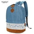 Wiliamganu 2017 nueva moda floral lace + denim mujeres de la lona bolsa mochila para adolescentes mujeres back pack mochila bagpack