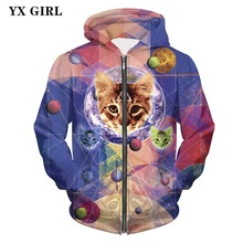 2018 NEW 3d Cat Printing Hoodie Mens Hip Hop Jacket Zipper Hoodies Sweatshirt Men Print Autumn Casual Tracksuit Pullover
