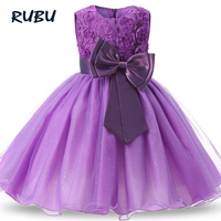 Sunny Fashion Flower Girls Dress Bow Tie Champagne Wedding Pageant 2017 Princess Party Dresses Children Clothes