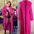 Masculino estilo cantora DJ GD Leopardo imitado trajes Mostrar performance de palco subpêlo Vermelho longo casaco de pele de vison outwear