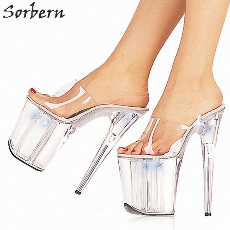Sorbern Women Slippers Transparent Pvc Slip On Slides Ladies 20Cm High Heels Open Toe