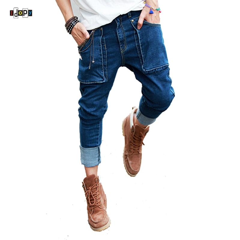 Summer New Mens Hip Hop Jeans Vintage Washed Pockets Drop Crotch Roll Up Harem Jeans Pencil Pants For Man men ripped harem jeans drop crotch 2017 new male destroyed denim pants garment washed vintage calf length jeans free shipping