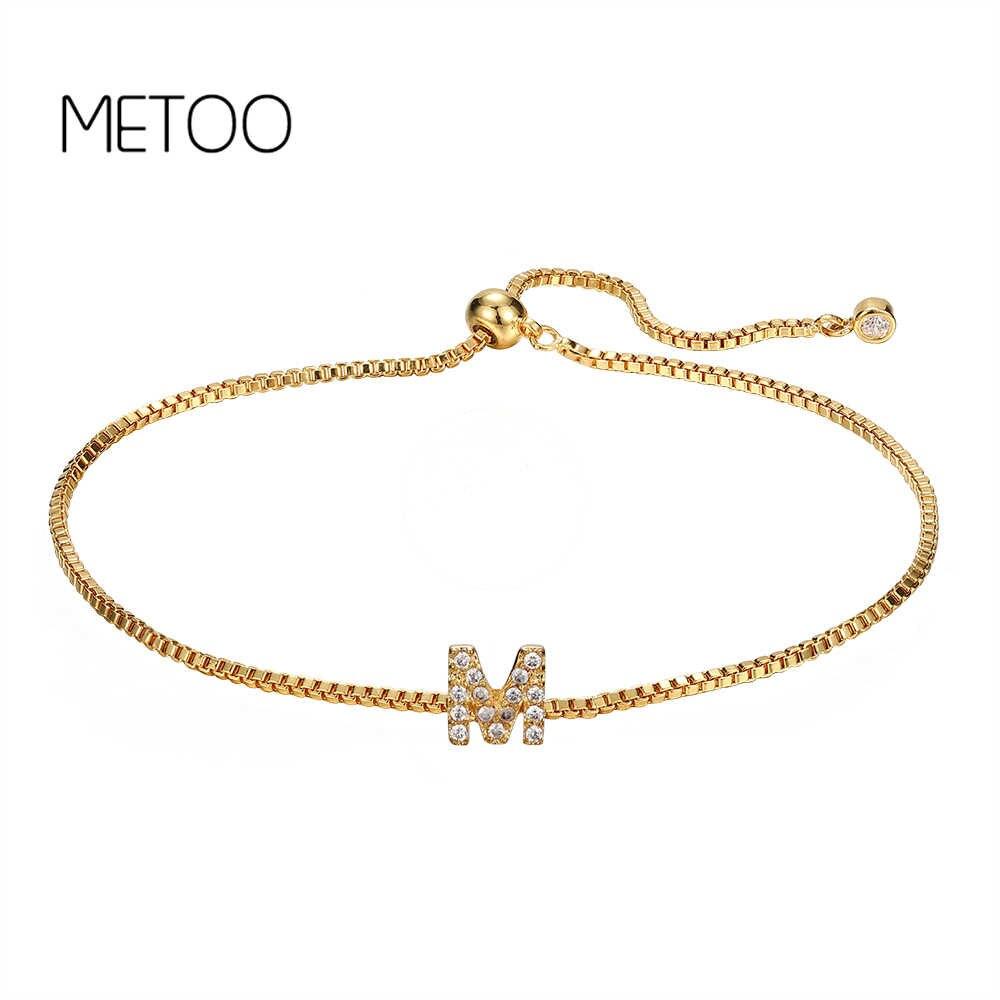METOO Charm Gold niestandardowa litera z cyrkonią bransoletki damskie 26 angielskie litery bransoletki damskie biżuteria dla dzieci dla dzieci dziewczyna 2019