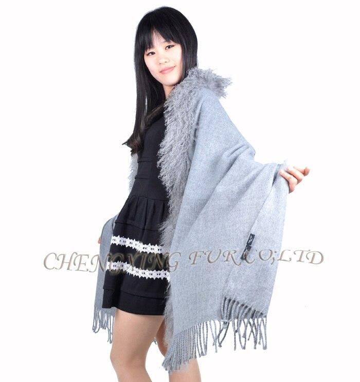 CX-B-P-04A Черная Женская зимняя модная шаль из шерсти ягнёнка с меховой отделкой - Цвет: Серый