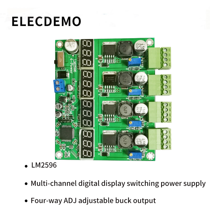 LM2596 module multi channel switching power supply four digital display DC DC adjustable buck output power module-in Demo Board Accessories from Computer & Office