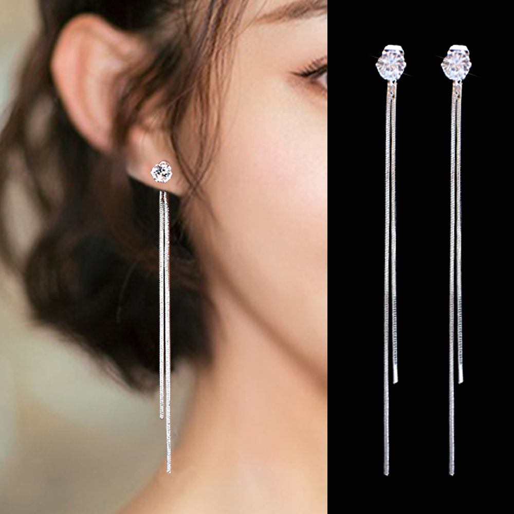2019 New Fashion Silver Plated Dangle Hanging Gem Stone Rhinestone Long Drop Earrings For Women Tassel Jewelry Brincos Bijoux
