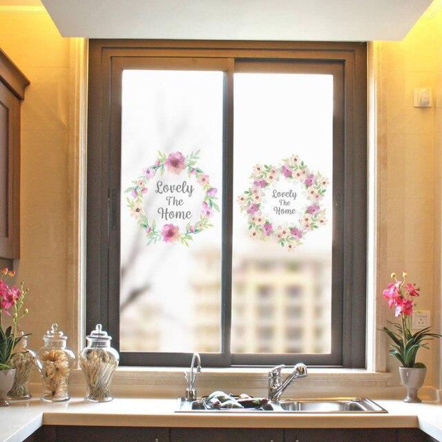 Window frosted glass sticker flower pattern diy cuttable prevent rupture light blocking window glass bathroom sticker