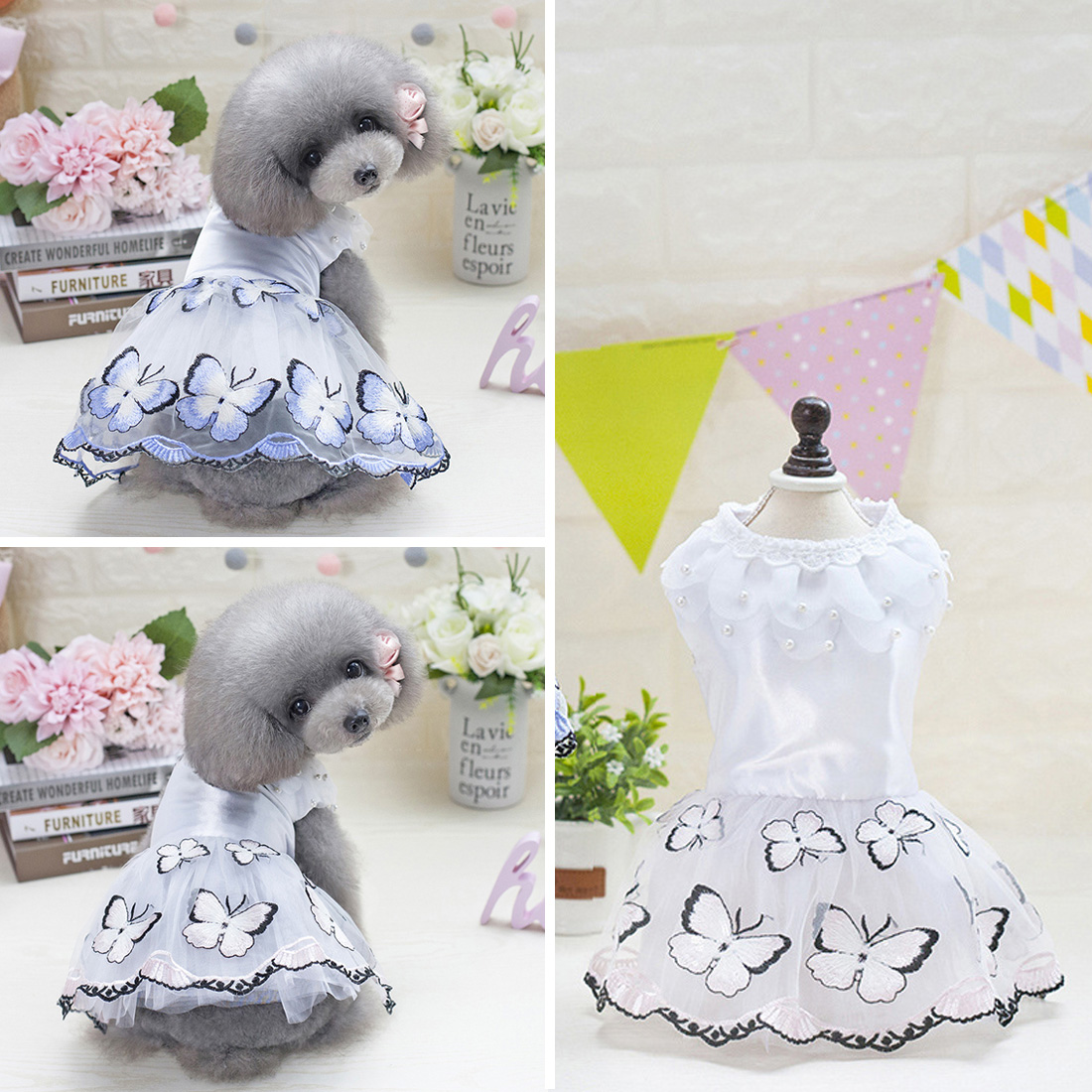 Blue Pink Pet Dog Princess Tulle Dress for Small Medium