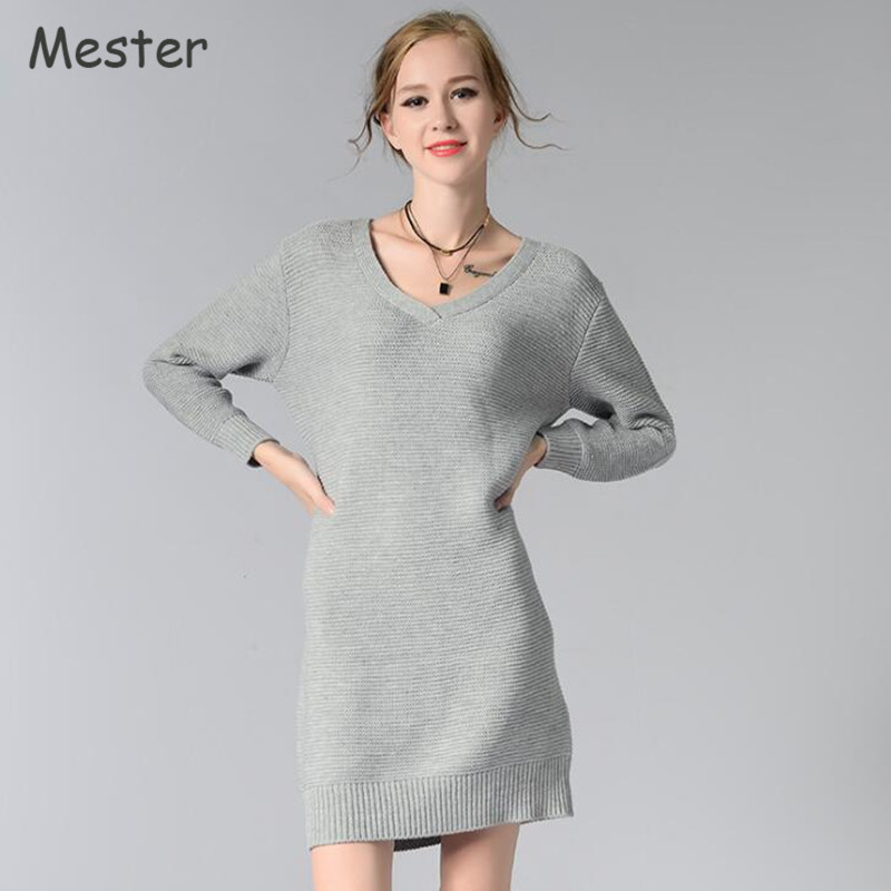 European Style V Neck Long Sweater Women Casual Loose Solid Color Knitted Sweater Dress Grey/Red/White/Army Green Pullovers bat wing sleeves casual style acrylic solid color v neck sweater for women