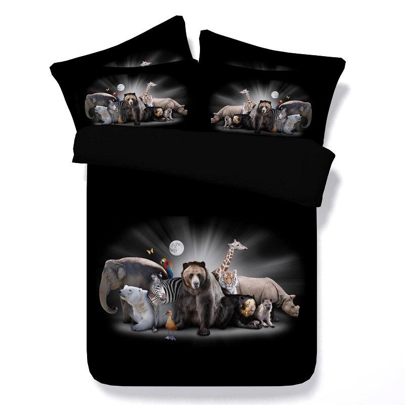 Ensembles de literie 3D animaux couette housse de couette lit dans un sac draps couvre-lits californie Super King size queen complet jumeau 4 pièces