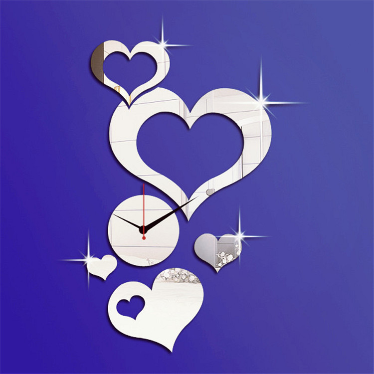 188h Romantic Heart Shape Mirror Wall Clock Modern Design Diy
