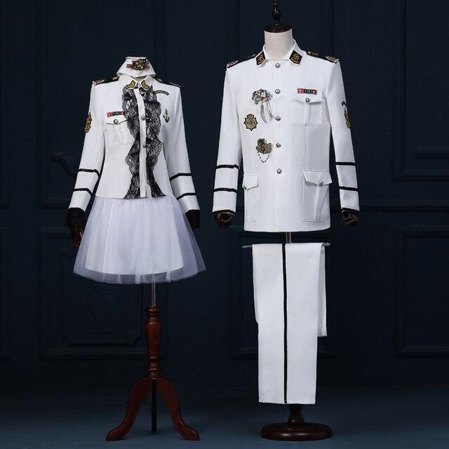 (Chaqueta + pantalones) masculino traje Un par de fotos de estudio foto y trajes de teatro en el Vestido de la Marina de banda uniforme traje de marinero