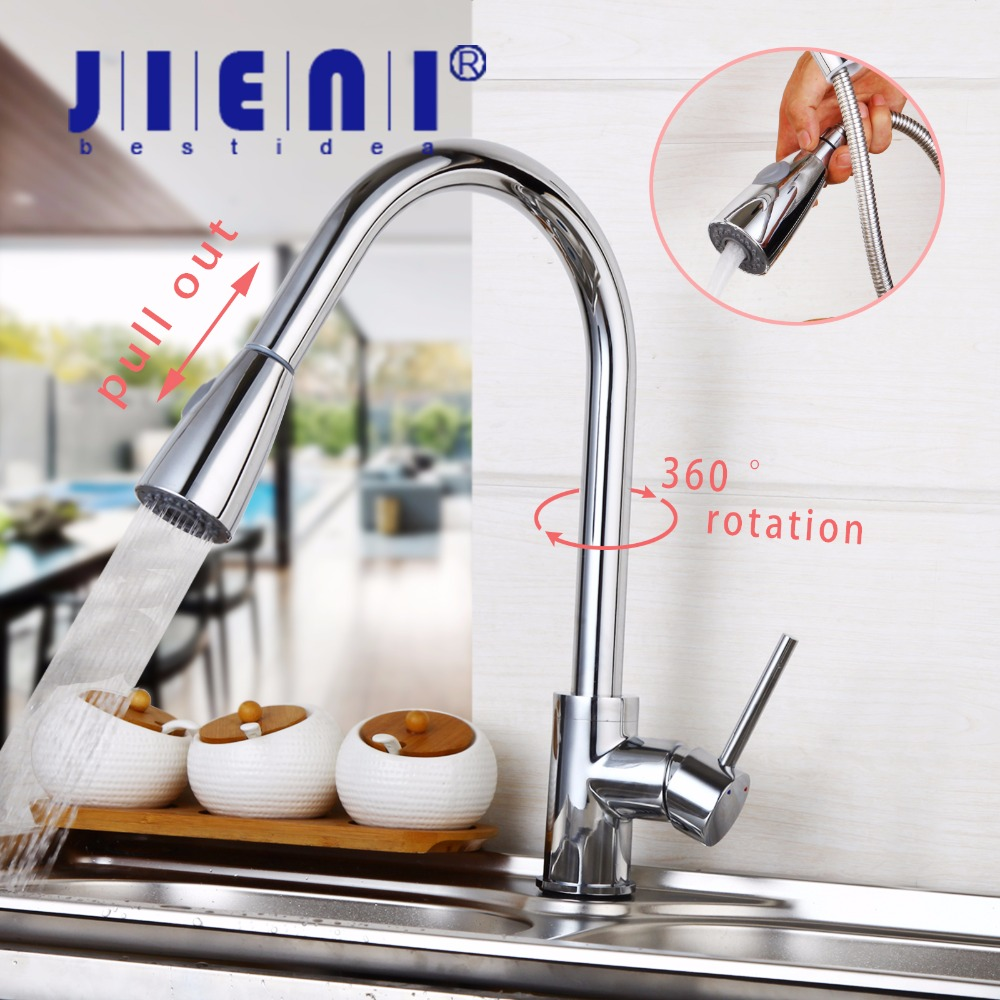 JIENI DE 360 Swivel Kitchen Faucet Pull Out Chrome Polished Basin Faucet Hot and Cold Water Rotated Mixer Tap цена 2017
