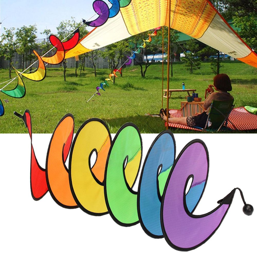 Colorful Camping Tent Foldable Rainbow Spiral Windmill Wind Spinner Home Garden Decor Ornaments Classic Toys