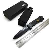 WTT 229 Black Folding Knife 7CR17Mov Half Serrated Blade Tactical Camping Survival Combat Pocket Knives EDC