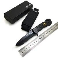 WTT 229 Black Folding Knife 7CR17Mov Half Serrated Blade Tactical Camping Survival Combat Pocket Knives EDC