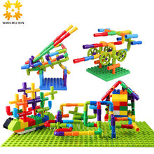 Hot Color Water Pipe Building Blocks For Children DIY Assembling Pipeline Tunnel Model Toy Compatible With Legoed Duploded(China)