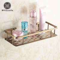 Free Shipping Wholesale And Retail Classic Bathroom Antique Brass Cosmetic Holder Wall Mounted Brass Storage Shelf