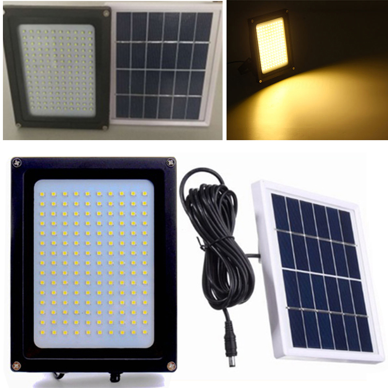 150 LED Warm White Solar Flood Light Yard Street Path Security Lamp Sensor Motion Activated Outdoor Garden Lamp 1050LM hot sale outdoor solar powered 3 led cool white warm white light fence gutter garden yard roof wall lamp light free shipping
