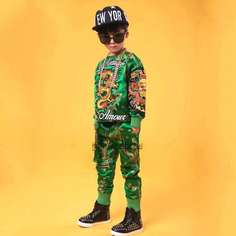 Hip Hop Dance Costume Kids Boys Jazz Costumes Street Dance Clothing Evening Stage Show Children Performance Dance Wear  DQS1485