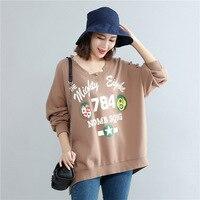 2017 Autumn Women Oversized T Shirt Korean Fashion Loose Print Hole V Neck Long Sleeve Tops