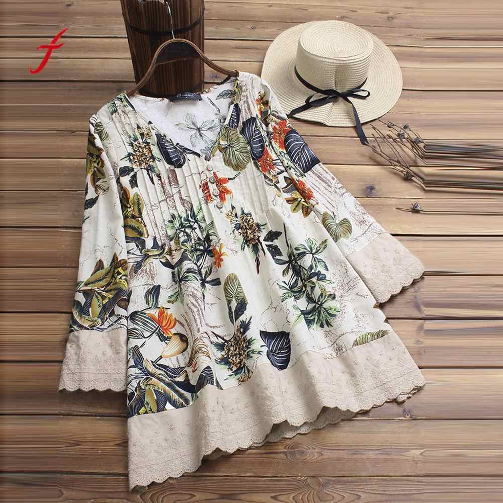 Women's Clothing New Stylies Women Long Sleeves Vintage Floral Print Patchwork Blouse Lace Splicing Tops Plus Size Patchwork Tunic Top