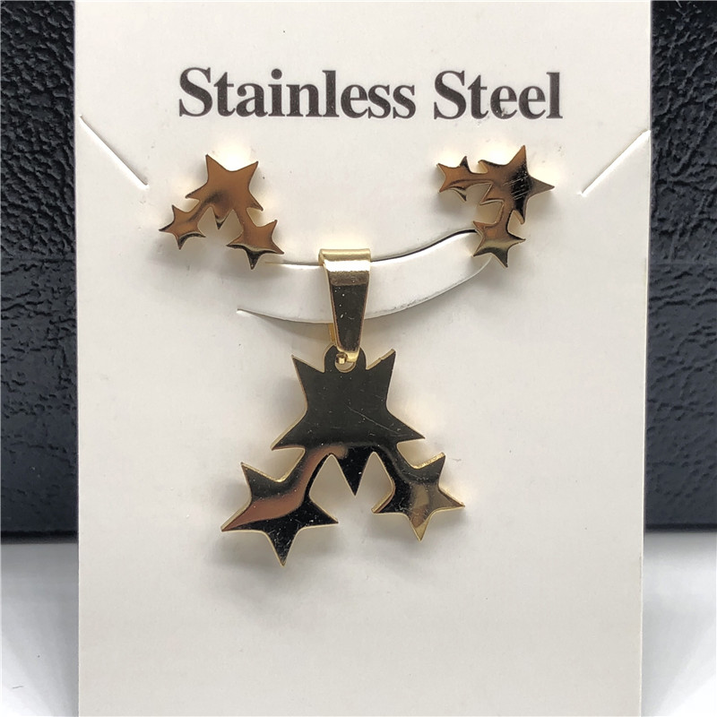 Stainless Steel Jewelry Sets For Women Moon Star Pendant Necklacae Stud Earrings Fashion Jewelry Gift Collares