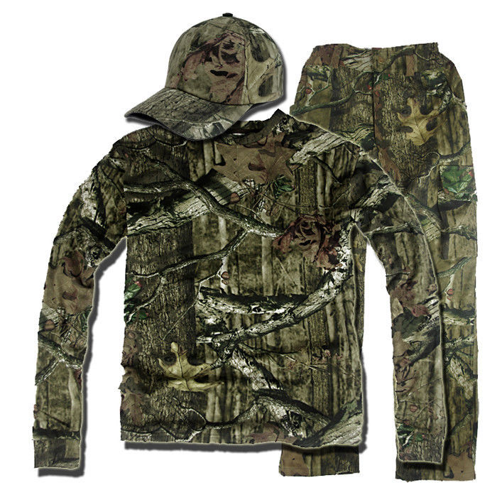 Camo Jungle Camouflage chasse vêtements boisé Bionic Ghillie costume tactique uniforme veste pantalon casquette ensemble
