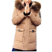 Плюс Размер M-3XL Новых людей Твердые Толстые Зимой Теплый Большой Искусственный меховой Воротник Белая Утка Вниз Пальто Куртки Для Мужчин Зима, 4 Цвета, 8088