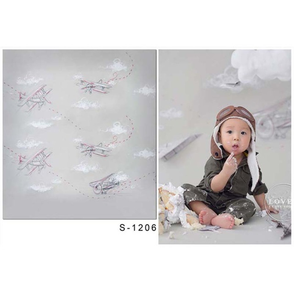 Baby Kids Pilot Boys Birthday Photography Backdrop Vinyl Printed Airplanes White Clouds Children Party Photo Shoot Background blue sky white clouds baby pilot photography backdrops vinyl printed toy aircraft kids boy photo shoot backgrounds for studio