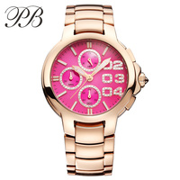 PB Fashion Women Watch Gold Plated Classic Dial With Crystal Waterproof Ladies Quartz Watch Reloj Mujer Montre Femme