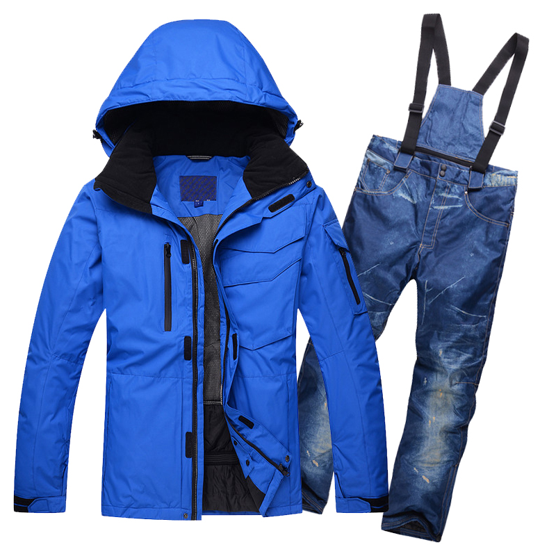 New 2017 snow single and double men's ski suit windproof waterproof men skiing jacket pants set winter male snow skiing jackets outdoor loose fit straight leg multi pocket solid color zipper fly cargo pants for men